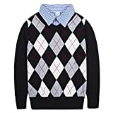 Product review for Benito & Benita Boys Sweaters V-Neck Faux Layered Uniform Sweater Long Sleeve Pullover with Argyle Patterns for 4-12Y