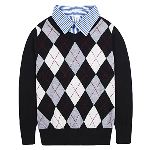 Benito & Benita Boys Sweaters V-Neck Faux Layered Uniform Sweater Long Sleeve Pullover With Argyle Patterns For (Kids Sweater Pattern)
