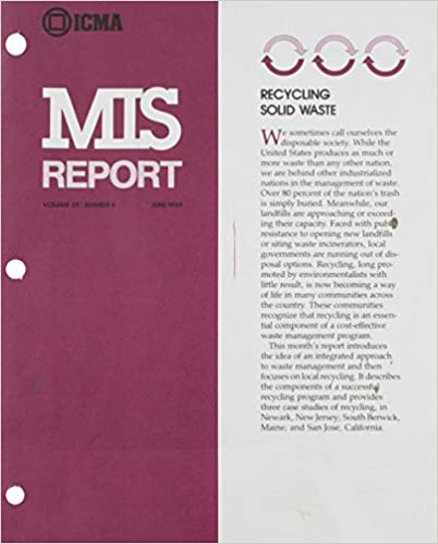 Recycling Solid Waste (Mis Report, Vol 21, No 6