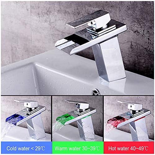 温度センサー付きLEDライト浴室流域タップ水力発電滝浴室シンク蛇口流域ミキサータップ真鍮継手(3色変更)