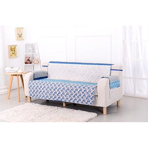 MN 1 Piece White Blue Floral Theme Sofa Protector, Geometric Bright Color Flower Pattern Couch Protection Flowers Leaves Furniture Protection Cover Pets Animals Covers Nature Motif, Polyester by MN