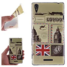 Sony T3 Case, Showing Totem Series Flexible Soft TPU Cover Protective Case For 5.3 inches Sony Xperia T3 (London Envelopes and Stamps)