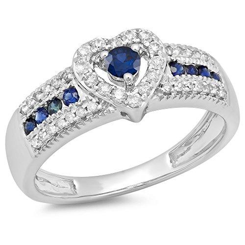 10K White Gold Round Blue Sapphire & White Diamond Bridal Heart Promise Engagement Ring (Size 7)