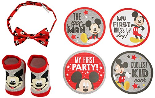 Disney Baby Boys Mickey Mouse Milestone Stickers Bowtie and Booties Gift Set,Age, red, Grey, 0-12M for $<!--$9.99-->