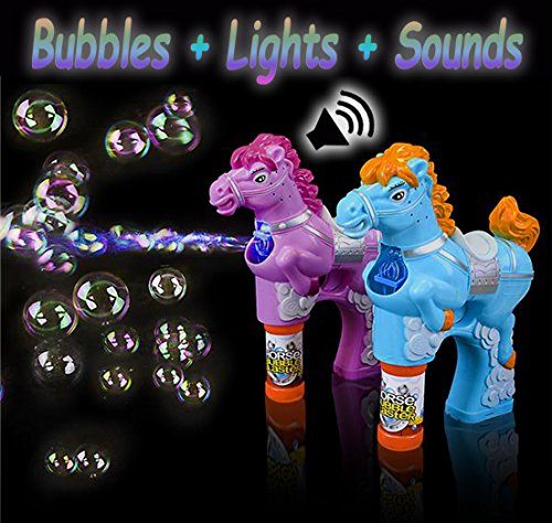 2 Sound Effects Pack - 4E's Novelty Horse Bubble Blower Pack of 2 Bubbles Blaster Gun, For Kids, Sound Effects & Flashing Light, 4 Bottles of Bubbles, Great Party Favor, Batteries Included