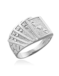 Men's 925 Sterling Silver Lucky Nugget Band Royal Flush of Hearts Poker Ring (Size 6.5)