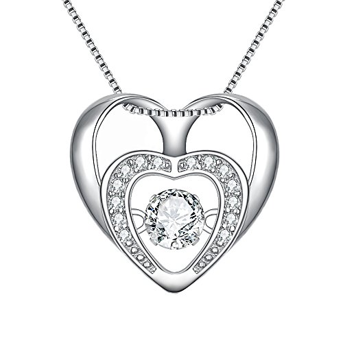 BriLove 925 Sterling Silver Heart Necklace for Women CZ Open Heart Dancing Pendant Necklace Clear ()