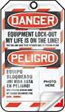 Accuform TSP107LCP Self-Laminating Spanish Bilingual Lockout Tag, Legend ''DANGER EQUIPMENT LOCK-OUT MY LIFE IS ON THE LINE!/ PELIGRO EQUIPO BLOQUEADO ¡MI VIDA ESTA EN PELIGRO! (PHOTO HERE)'', 5.75'' Length x 3.25'' Width x 0.010'' Thickness, PF-Cardstock, Re