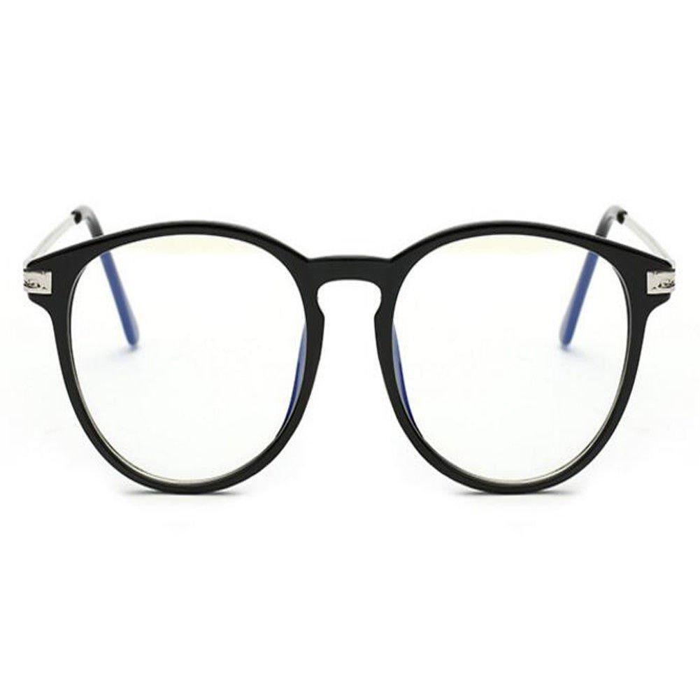 Deylaying Blue Light Filter Computer Glasses Anti Radiation UV Clear Lens Vintage Round Eyewear Men//Women