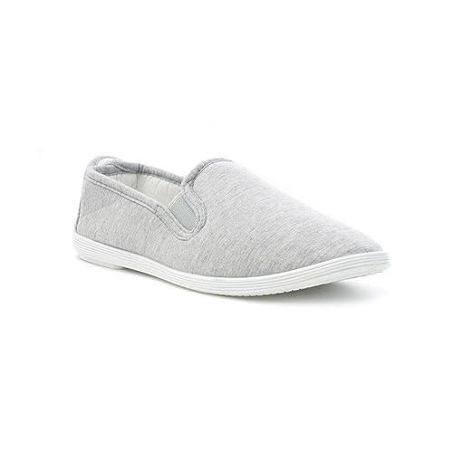 Damen Canvas-Slipper in Grau - Größe 9 UK/43 EU - Grau Zone 00PnF