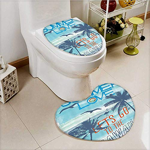 vanfan Cushion Non-slip Toilet Mat Love Lets Go to the Hawaii Sunat Tropical ach with Flying Birds Walking Flamingos with High Absorbency by vanfan