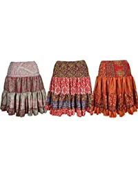 Womens Ruffle Flirty Skirt Vintage Recycled Silk Knee Length Skirts Wholesale Lots Of 3