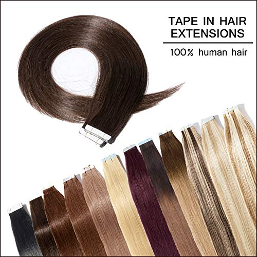 Dark Brown Tape In Hair Extensions Human Hair 14 inch 40pcs Long Straight Skin Weft Remy Hair Invisible Double Sided Tape +20pcs Replacement - Braiding Hair Remy
