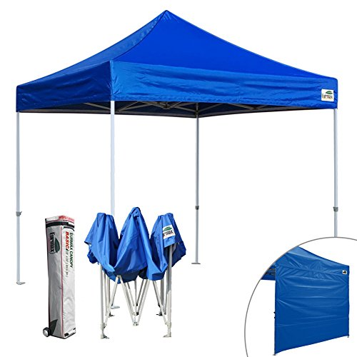 Eurmax 10×10 Ez Pop up Canopy Commercial Outdoor Shade Instant Tent With Heavy Duty Roller Bag, Bonus One Sidewall (Blue)