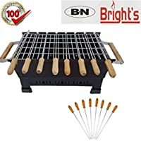 B.N.Brights BBQ1 Portable & Picnic Cast Iron Coated Barbeque with 8 Skewers (Wooden Handle), 1 Grill and 1 Glove