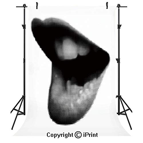Modern Photography Backdrops,Digital Dotted Spotted Stylized Sexy Happy Woman Lips Contemporary Display,Birthday Party Seamless Photo Studio Booth Background Banner 5x7ft,Black Grey White