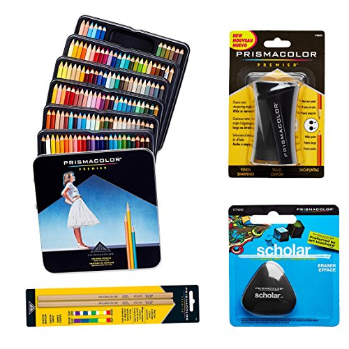 Prismacolor 132-Count Colored Pencils, Triangular Scholar Pencil Eraser, Premier Pencil Sharpener, and Colorless Blender Pencils by Prismacolor