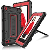 Fire 7 2015 Case, Elegant Choise Fire 7 Case with Kickstand, High Impact Resistant Hybrid Three Layer Defender Shockproof Protective Cover Case for Amazon Fire 7 Inch Tablet (5th Generation) (Red)