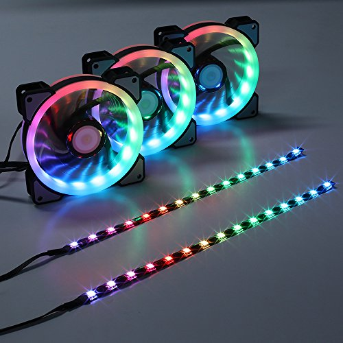 LEDdess RGB LED 120mm Case Fan with Controller for PC Cases, CPU Coolers, Radiators system (3pcs rgb fans, 2pcs led strips, 2nd Gen RF Remote Control, A Series) by LEDdess (Image #7)'