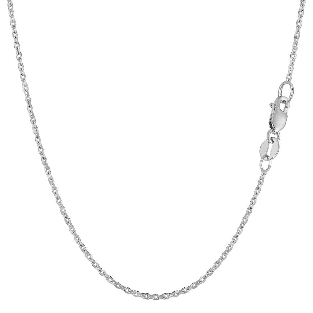 14K Yellow or White Gold 1.4mm Shiny Diamond Cut Cable Link Chain Necklace for Pendants and Charms with Lobster-Claw Clasp (16'', 18'', 20'' or 24 inch)