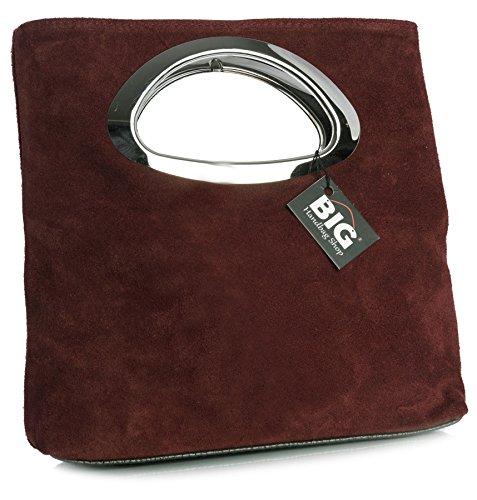 BHBS Bolso de Noche para Dama en Cuero Gamuzado con Asa Superior en Metal 15x25x7 cm (LxAxP) (Sale) Deep Red