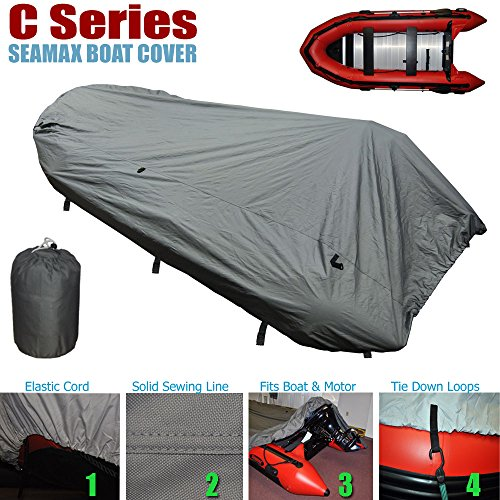 SEAMAX Inflatable Boat Cover, C Series for Beam Range 5.3' to 5.7' (FEET), 5 Sizes fits Length 9.9' to 13.8' (FEET) (C390 - Max length 12.8ft)