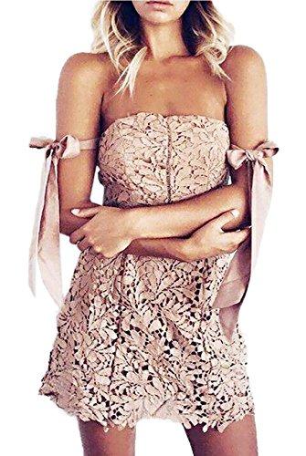 Sommer Kurz Kleid Damen Fashions Einfarbig Spitzen Kleider mit ...