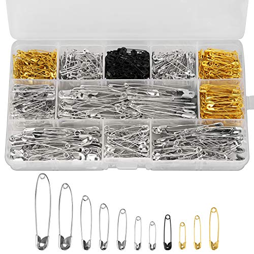 LUTER 500 Pieces 7 Sizes Large and Small Safety Pins Assorted 19mm 22mm 28mm 32mm 36mm 45mm 50mm for Art Craft Sewing Jewelry Making Home Office Use(Gold Silver Black)