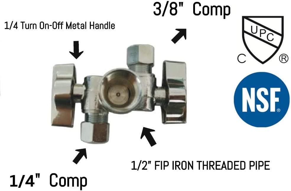 """1/2""""FIP Iron Pipe x 3/8"""" OD Comp x 1/4"""" OD Comp Dual Handle 3 Way Angle Stop Water Shutoff Ball Valve, Lead-Free (Pack 1)"""