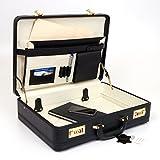 Classic Leather Attache Case Briefcase Hard Side w Portfolio Combination Locks