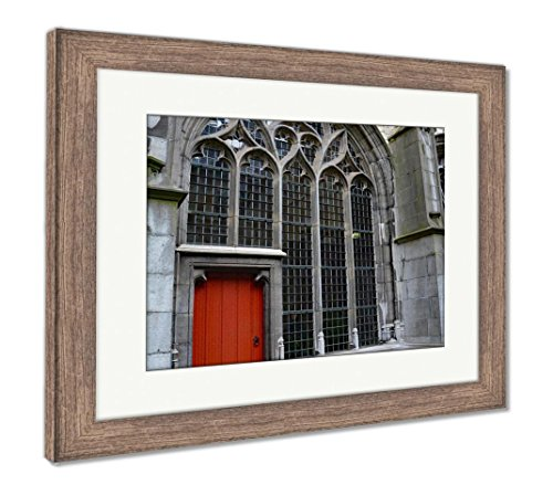 Abbey Stained Glass Print - Ashley Framed Prints Middelburg The Netherland Abbey Stained Glass Red Door, Wall Art Home Decoration, Color, 30x35 (frame size), Rustic Barn Wood Frame, AG6091615