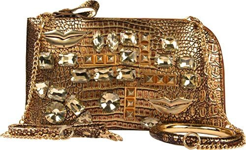 A+ Handmade Bangle Metallic Evening Bag with Gold Lips and Triple Option Adjustable Shoulder Straps: ZH3010-BN
