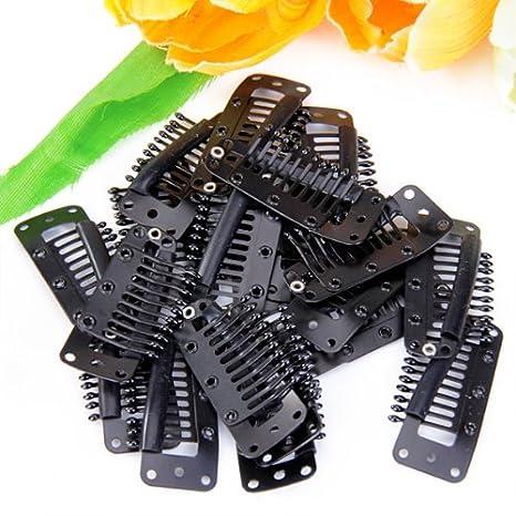 MagiDeal 20x Negro 10 Dientes Broches Peine Pinzas Horquillas De Peluca Pelo Wig Clip: Amazon.es: Ropa y accesorios
