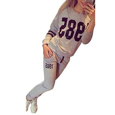 Damen Trainingsanzug Pullover Langarm Sweatshirt Hose Jogginganzug Sportanzug 38