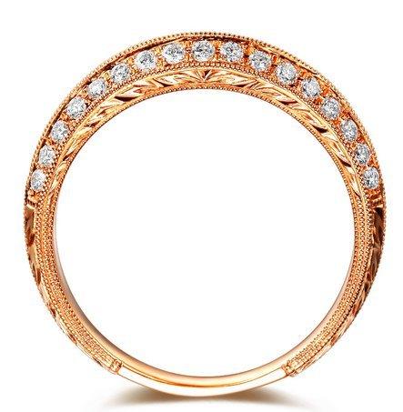 Gowe Mariage Bandes en diamant véritable diamant 0.32CT Or rose 18K en diamant
