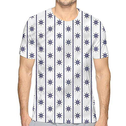 Comfort Colors t Shirt Ships Wheel,Vertical Lines Maritime t Shirt XXL ()