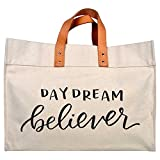 Canvas Beach & Pool Tote - Resort Style Bag (Natural- Daydream Believer)