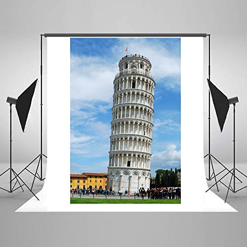Architectural Landscape Backdrop For Italy 5X7ft Leaning Tower of Pisa Under Blue Sky Studio Photography Background Photo Studio Props EY010
