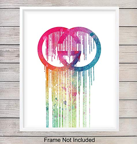 Gucci Dripping Logo Pop Art Print - Chic Contemporary Designer Fashion Wall Art Poster - Gift for Women, Teens, Fashionista - Unique Home Decor for Bedroom, Dorm Room, Office, 8x10 Photo Unframed (Best Gift For Fashionista)