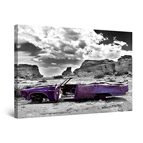 (STARTONIGHT Canvas Wall Art - Rusty Purple Car in Desert, Framed Wall Decor 24