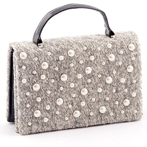 Rebecca Molenaar, pochette/borsetta in lana ed ecopelle con decorazioni di perle