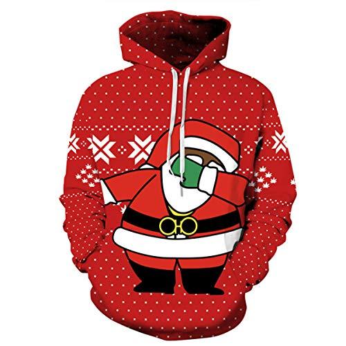 b5b3f88f27b6e CHENMA Men Funny Christmas 3D Print Pullover Hoodie Fleece Lined Winter Sweatshirt  Kangaroo Pocket