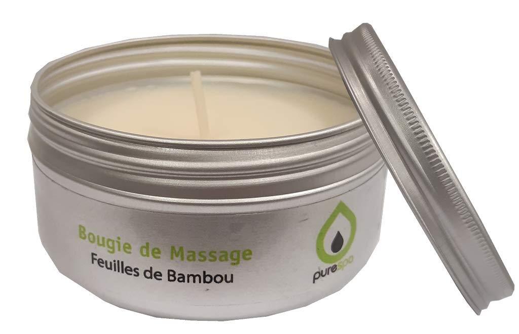 langlebig ohne Parabene 100/% pflanzliches Massagekerze Feuille de Bambus