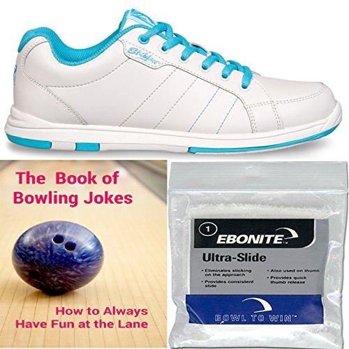 kr-strikeforce-womens-satin-bowling-shoes-white-blue-ebonite-ultra-slide-powder-and-the-book-of-bowl