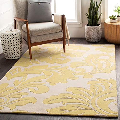 (Buechel Transitional 6' Round Round Transitional 100% Wool Wheat/Cream Area Rug)