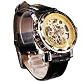 Clearance!Men's Mechanical Skeleton Sport Army Wrist Watch,Canserin Classic Black Leather Gold Dial