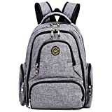 Image of Big Sale - Baby Diaper Bag Waterproof Travel Diaper Backpack with Changing Pad and Stroller Clips (Gray)