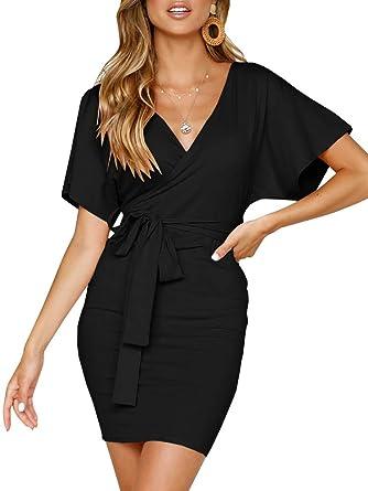 92c424757cbd JOYCHEER Womens Dresses Tie Waist V Neck Short Sleeve Tie Wrap Bodycon Mini  Dress