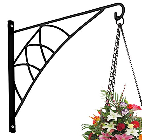 AMAGABELI GARDEN&HOME Hanging Plants Bracket 14'' Wall Planter Hook Flower Pot Bird Feeder Wind Chime Lanterns Hanger Outdoor Indoor Patio Lawn Garden for Shelf Shelves Fence Screw Mount against Door Arm Hardware