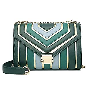 Fashion Women's Bags Polyester/PU(Polyurethane) Crossbody Bag Buttons/Chain Striped Black/Blushing Pink/Wine (Color : Green)